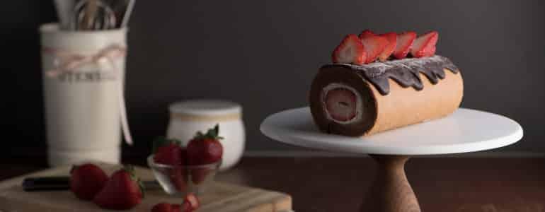 巧克力草莓戚風蛋糕捲