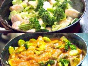 加入蔬菜,炒5分鐘