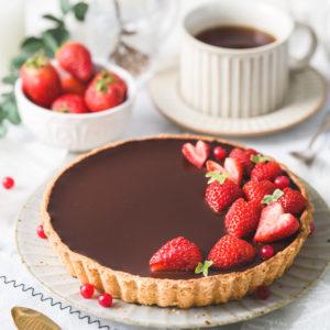 無糖巧克力草莓塔